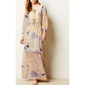 Anthropologie Meadow Rue Boho Floral Maxi Dress